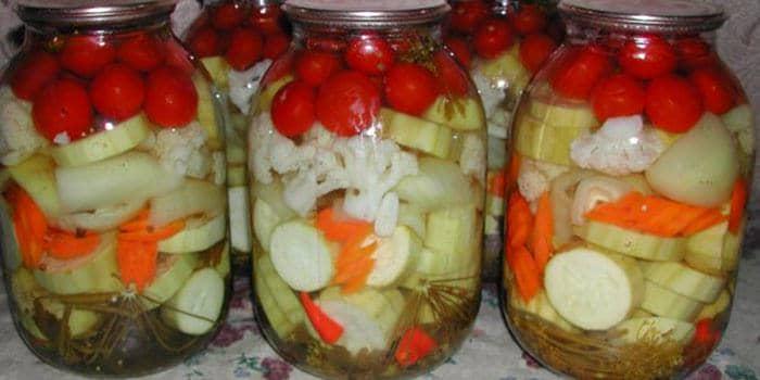кабачки маринованные с капустой на зиму